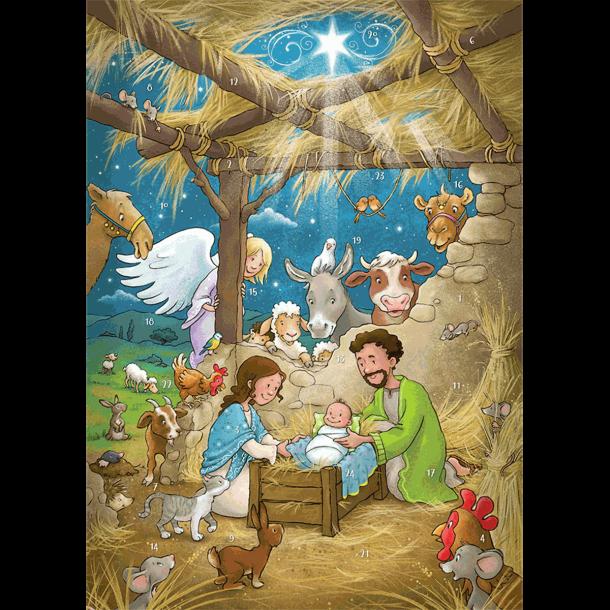 Julekalender med 24 låger og magnetfigurer